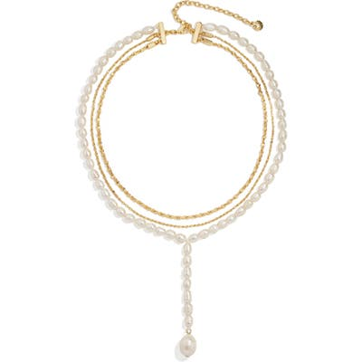 Baublebar Freshwater Pearl & Imitation Pearl Layered Y Necklace