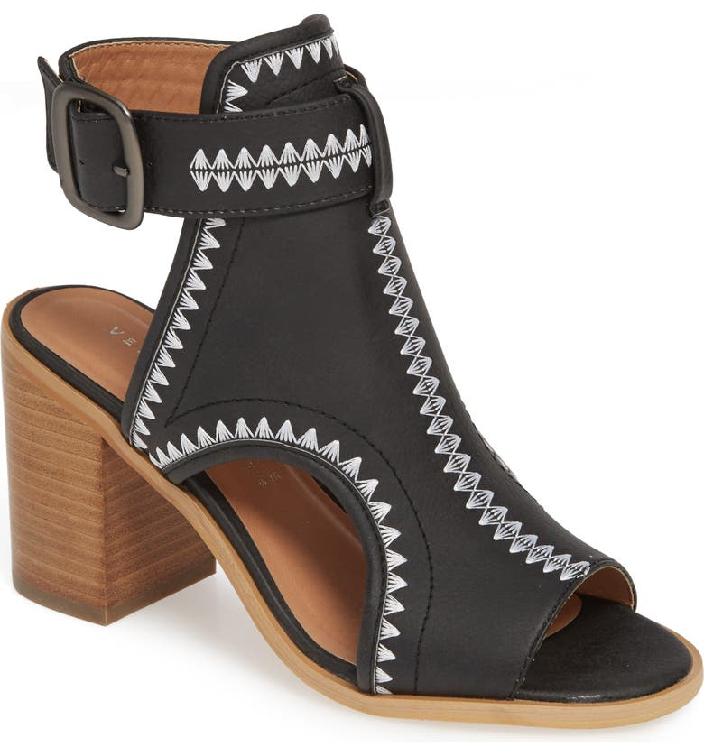 VERY VOLATILE Yankee Embroidered Shield Sandal, Main, color, BLACK FAUX LEATHER