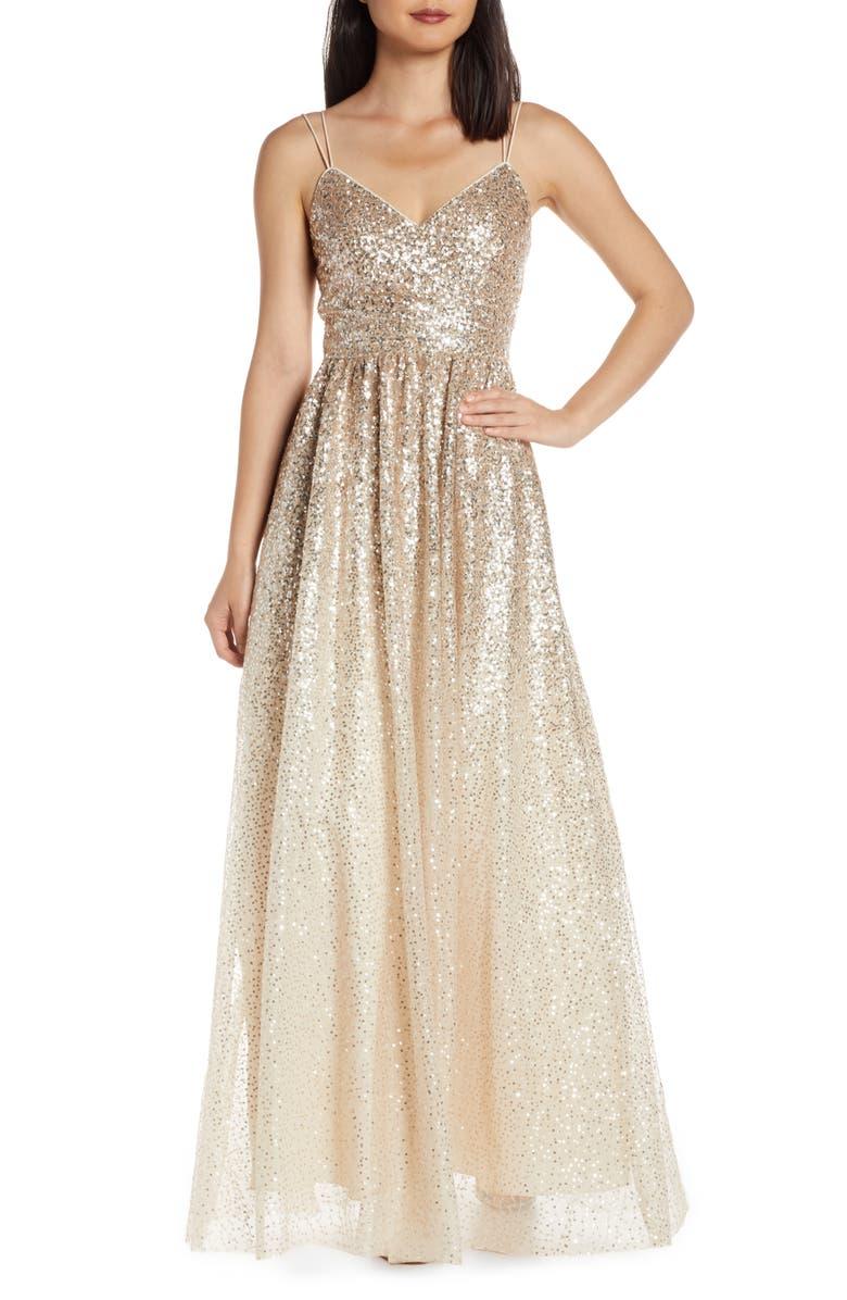 ELIZA J Ombré Sequin Gown, Main, color, CHAMPAGNE