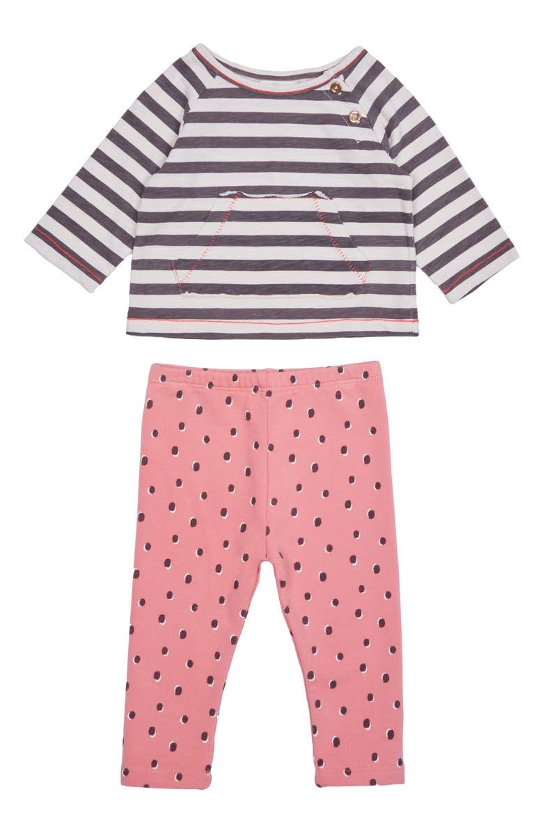 PEEK ESSENTIALS Magnolia Stripe & Dot Shirt & Pants Set, Main, color, PINK MULTI