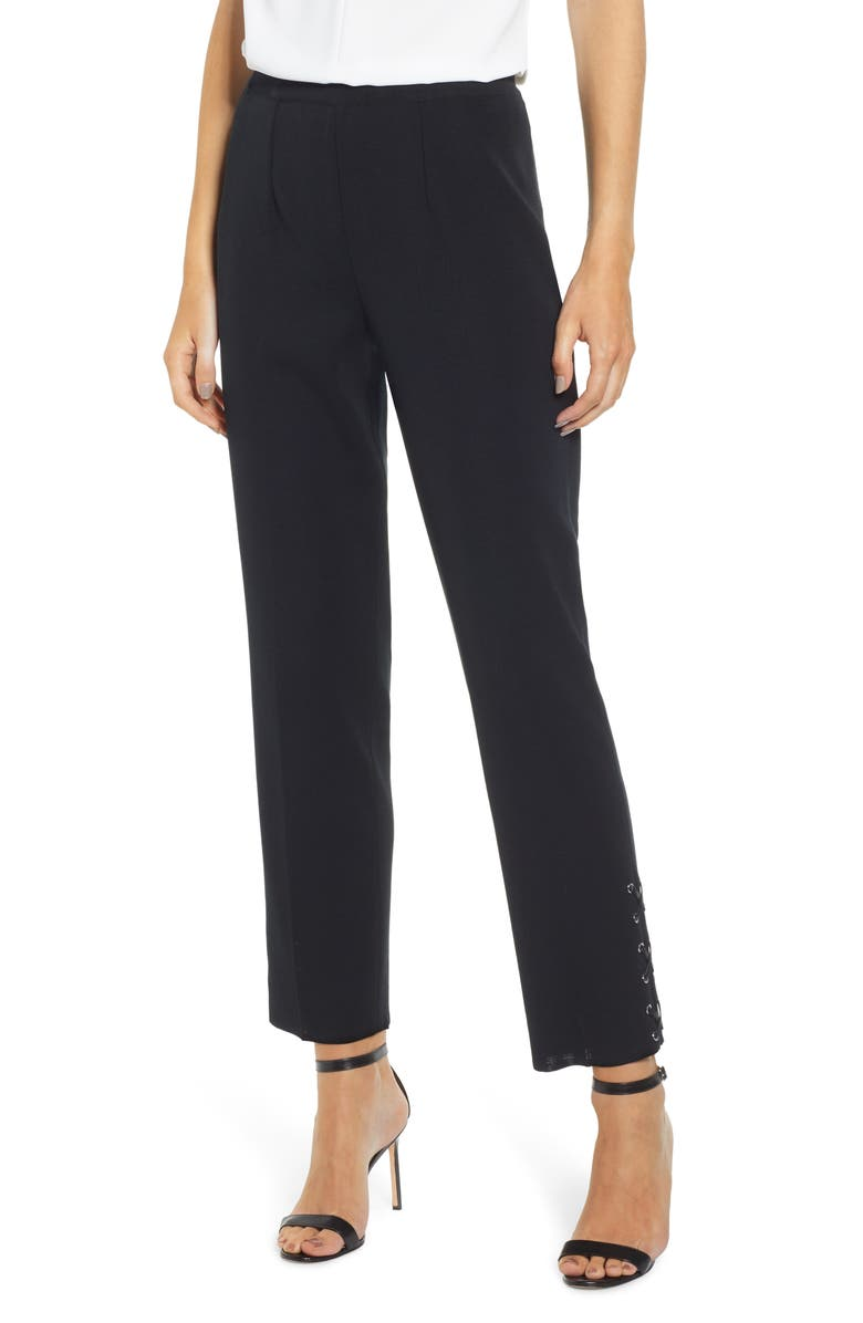 MING WANG Lace-Up Detail Slim Knit Pants, Main, color, BLACK