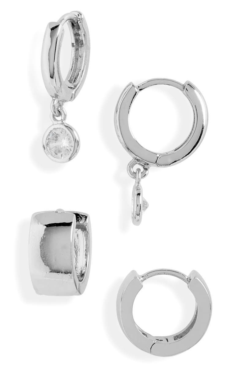 HALOGEN<SUP>®</SUP> 2-Pack Huggie Hoop Earrings, Main, color, CLEAR- RHODIUM