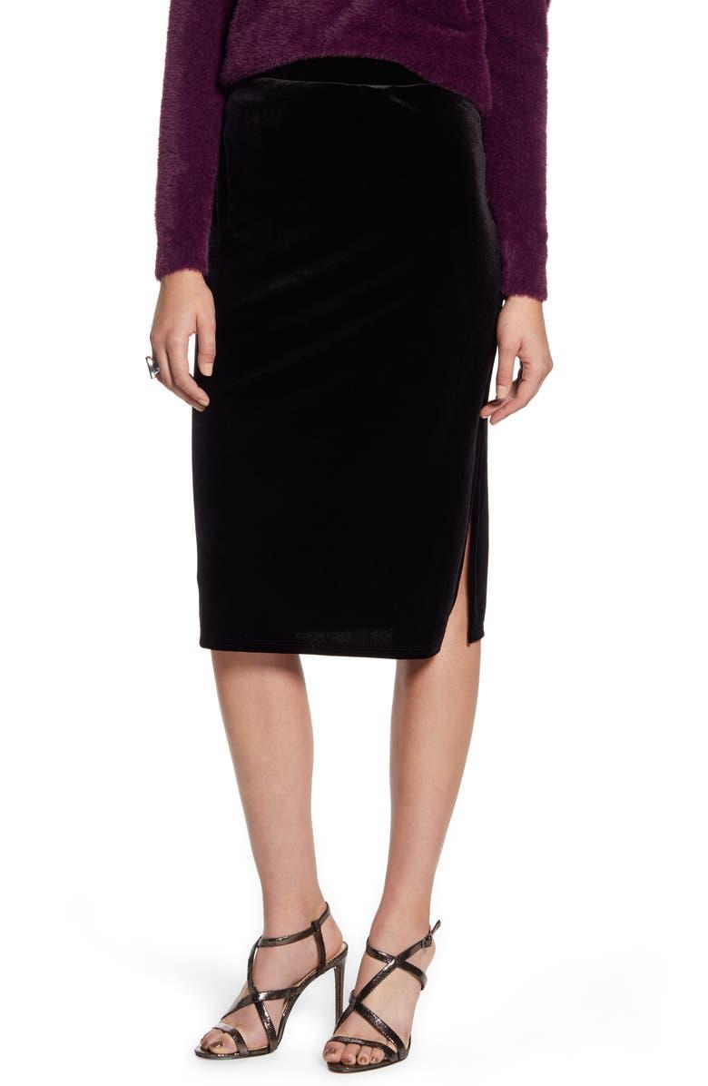 HALOGEN<SUP>®</SUP> Velvet Pencil Skirt, Main, color, 001