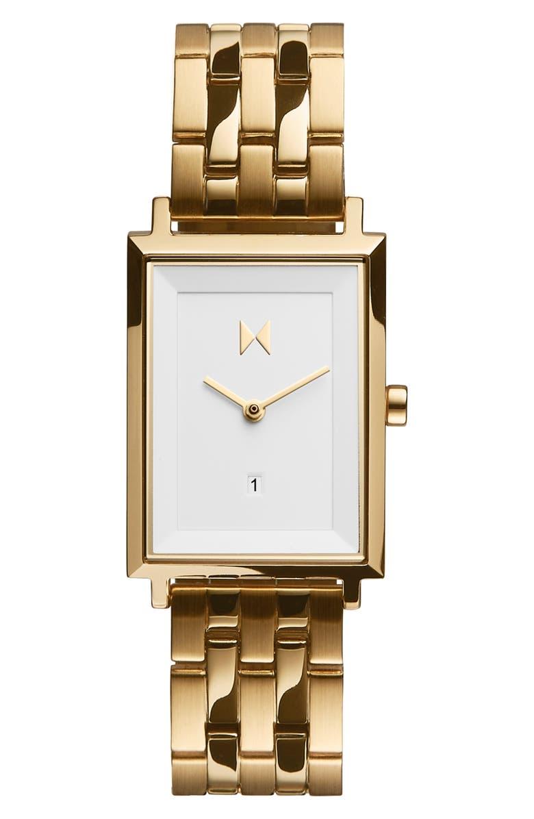 MVMT Signature Square Bracelet Watch, 24mm, Main, color, GOLD/ WHITE/ GOLD