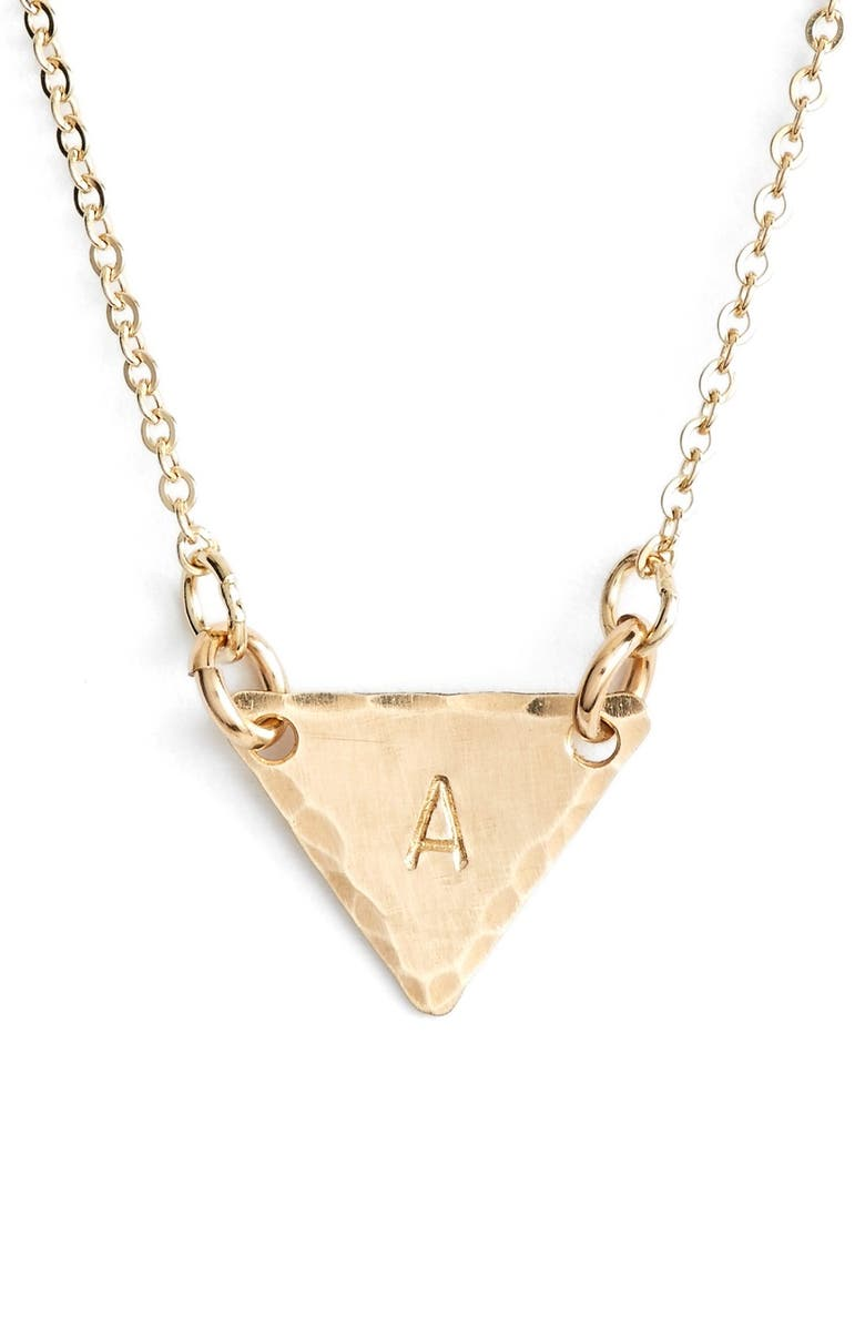 NASHELLE 14k-Gold Fill Initial Triangle Necklace, Main, color, 14K GOLD FILL A