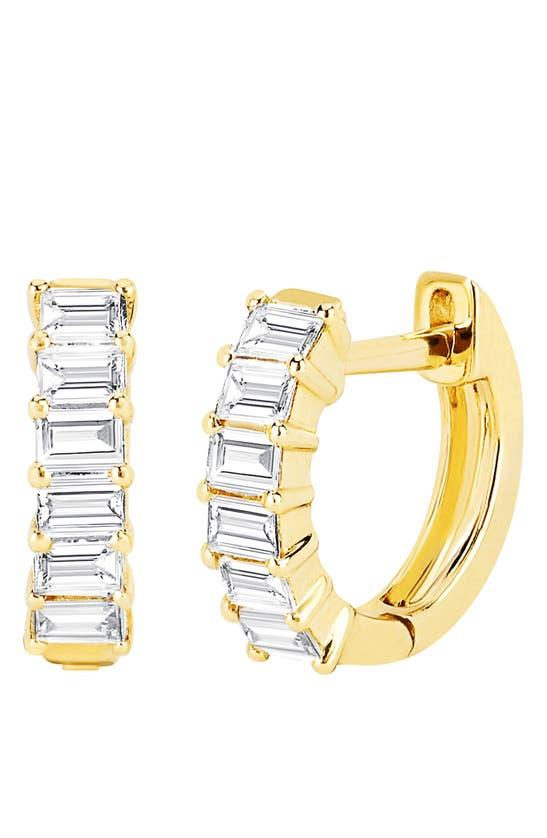 Ef Collection Earrings BAGUETTE DIAMOND HUGGIE HOOP EARRINGS