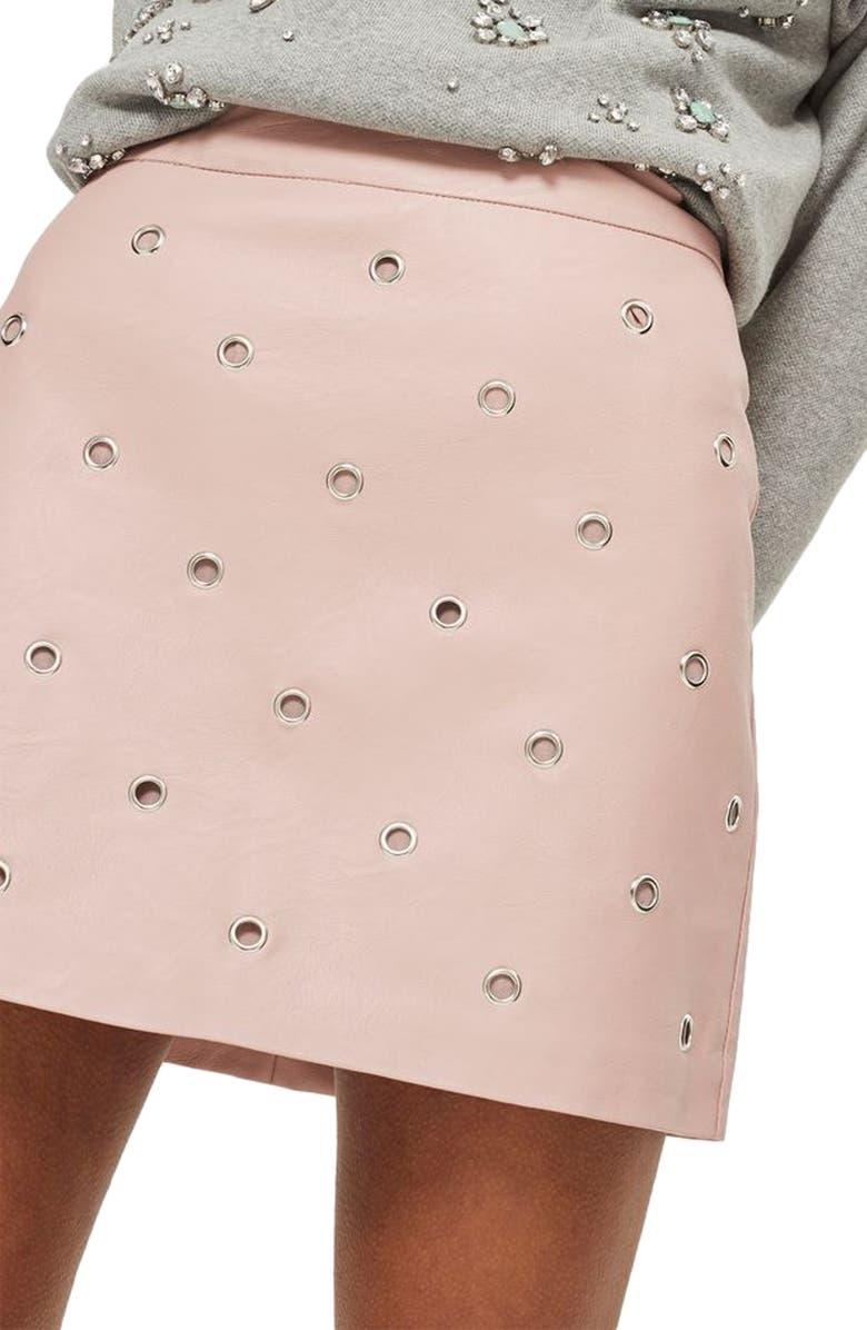 TOPSHOP Grommet Faux Leather Skirt, Main, color, 680