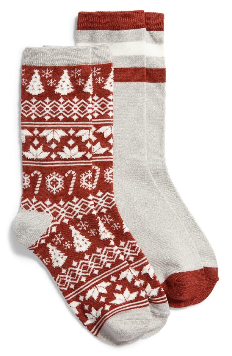 BP. 2-Pack Crew Socks, Main, color, RED ROSEWOOD DITSY FAIRISLE