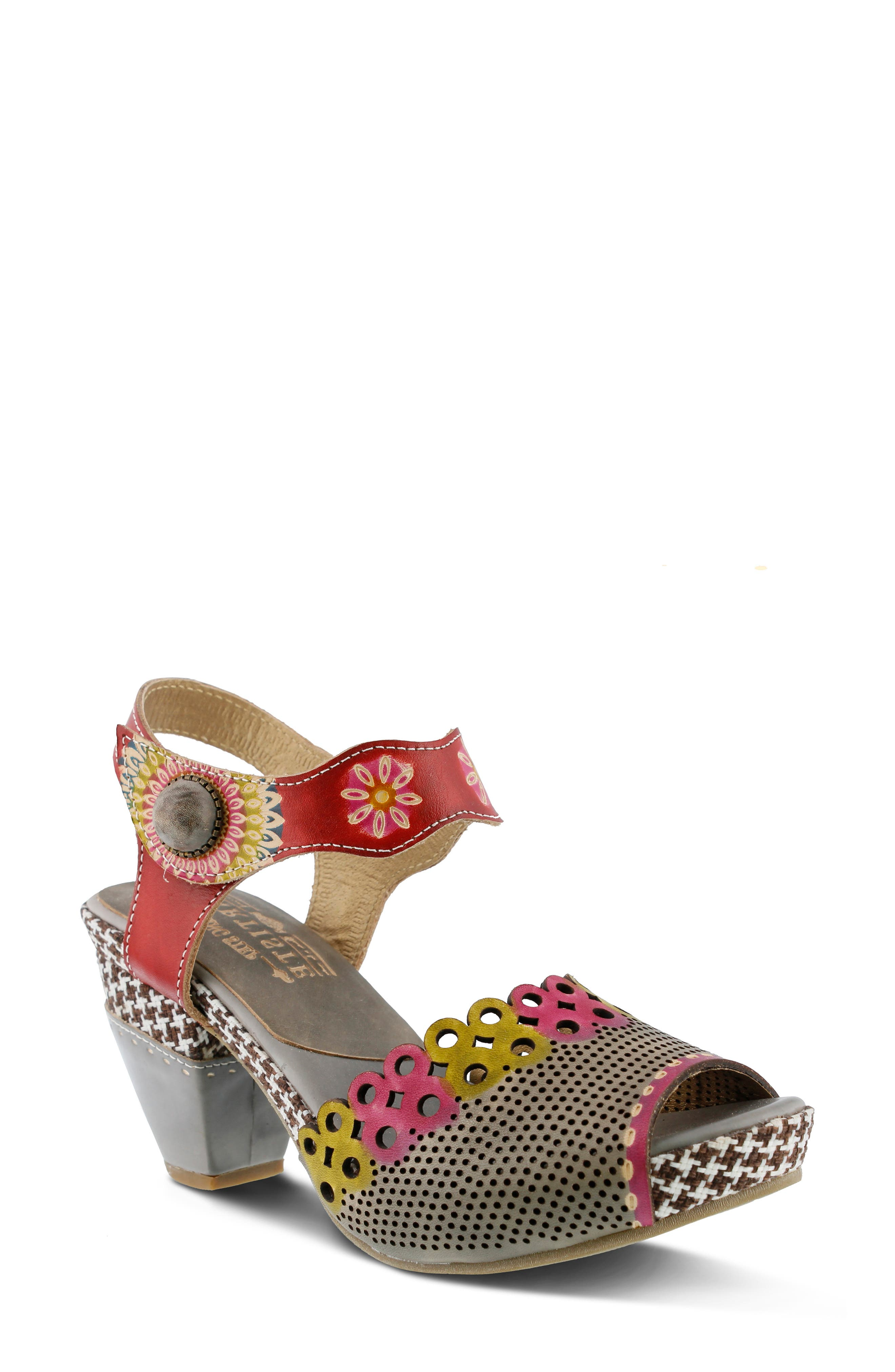 Floral embossing, geometric laser cutting and houndstooth checks combine to eclectic effect on this hand-painted leather sandal. An adjustable hook-and-loop strap and padded footbed ensure a comfortable fit. Style Name:L\\\'Artiste Jive Sandal (Women). Style Number: 5737373. Available in stores.