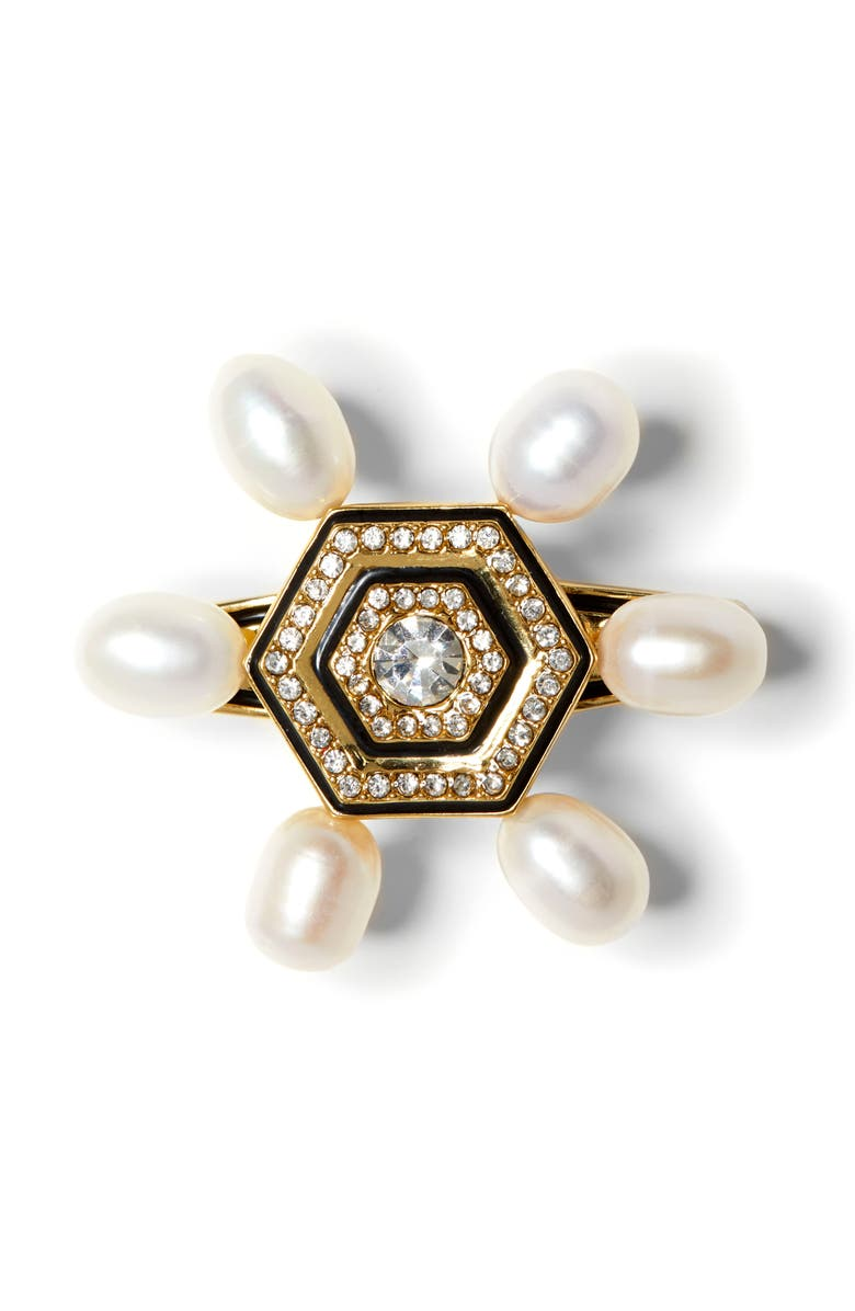 VINCE CAMUTO Pearl & Enamel Pin, Main, color, GOLD