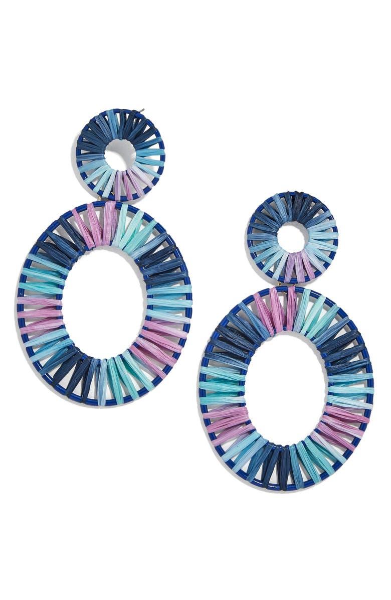 BAUBLEBAR Kiera Raffia Drop Earrings, Main, color, BLUE MULTI