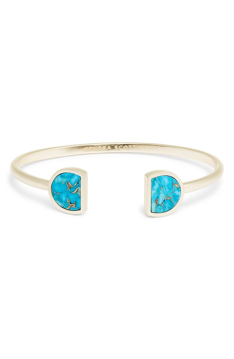 KENDRA SCOTT Luna Cuff, Main, color, RHODIUM/ WHITE HOWLITE