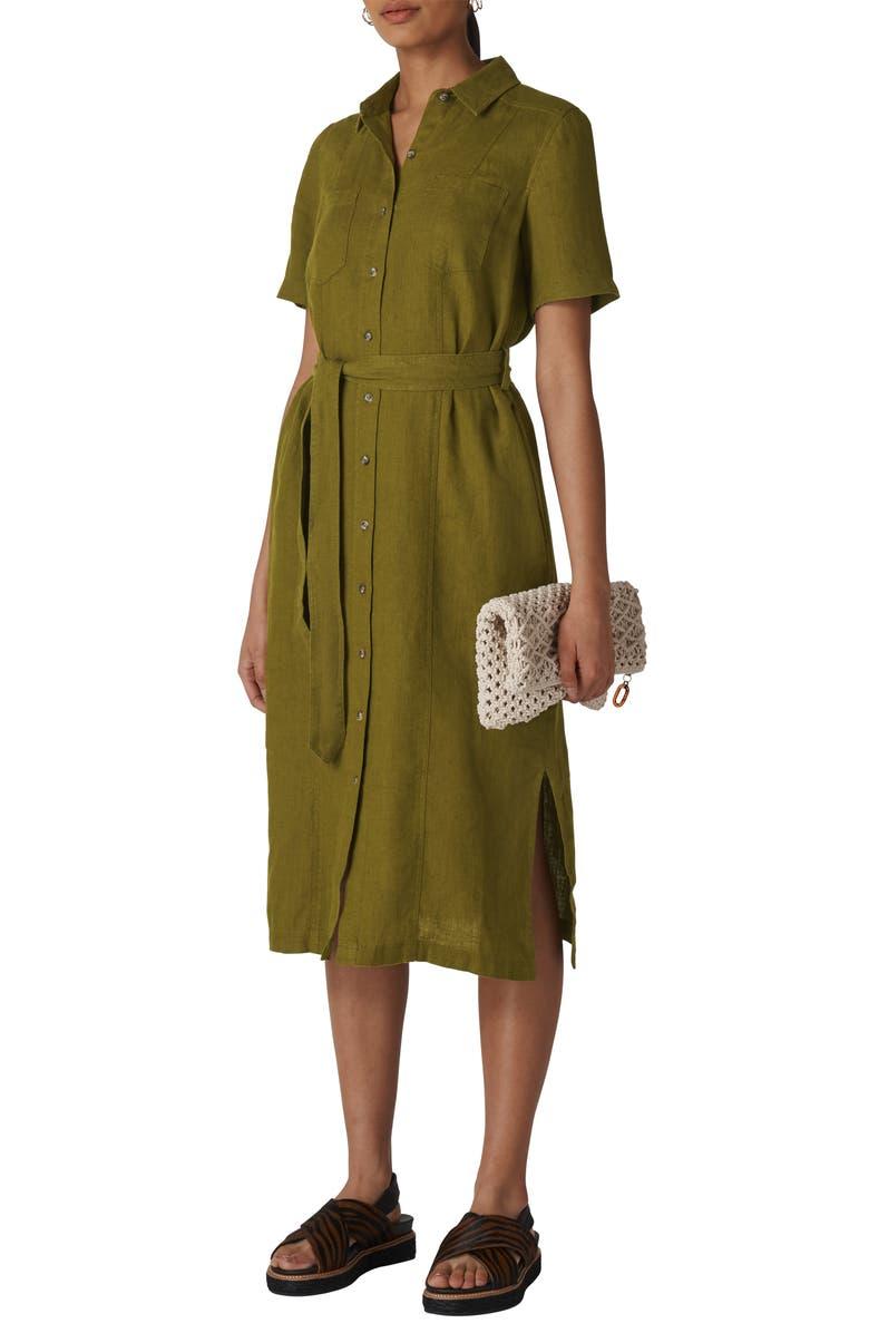 WHISTLES Bella Linen Shirtdress, Main, color, KHAKI