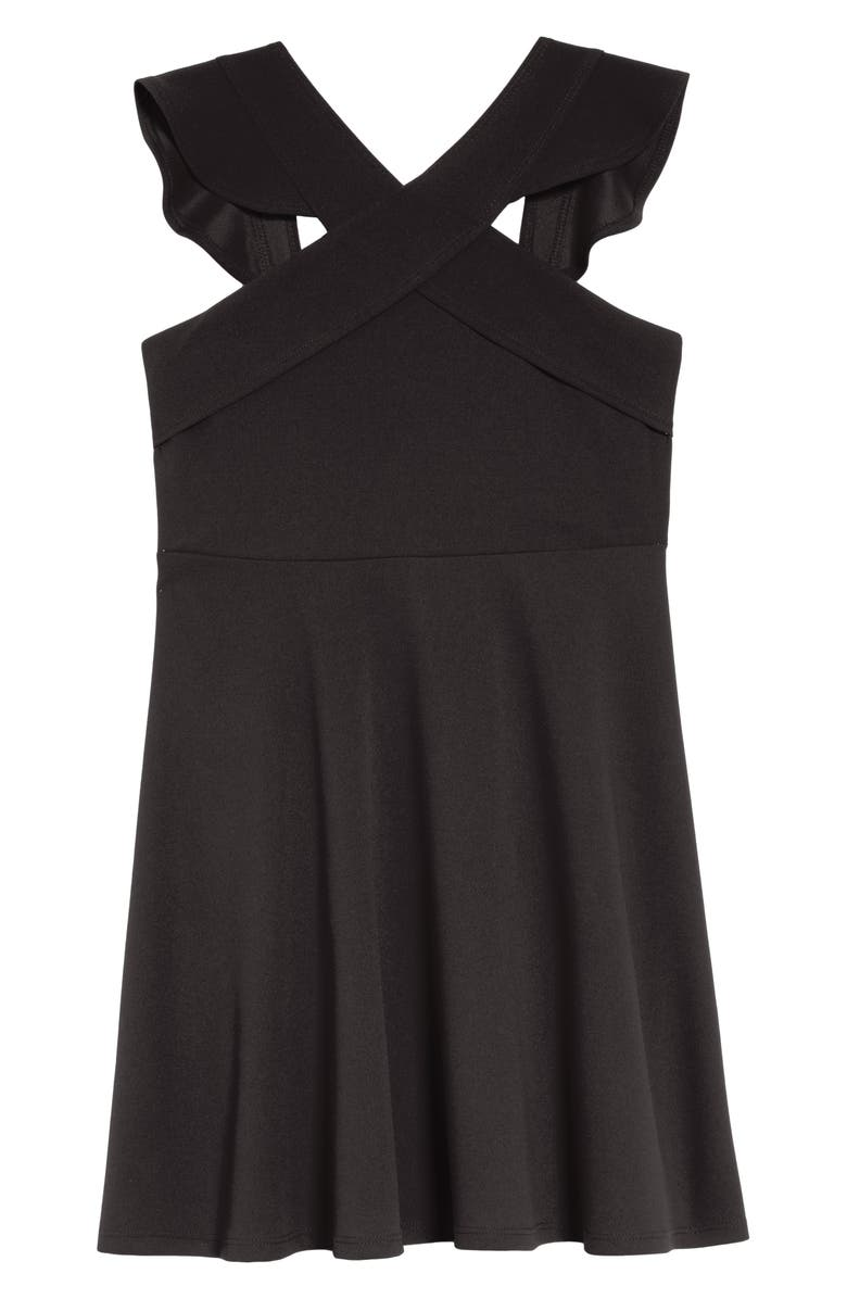 LOVE, NICKIE LEW Ruffle Fit & Flare Dress, Main, color, BLACK