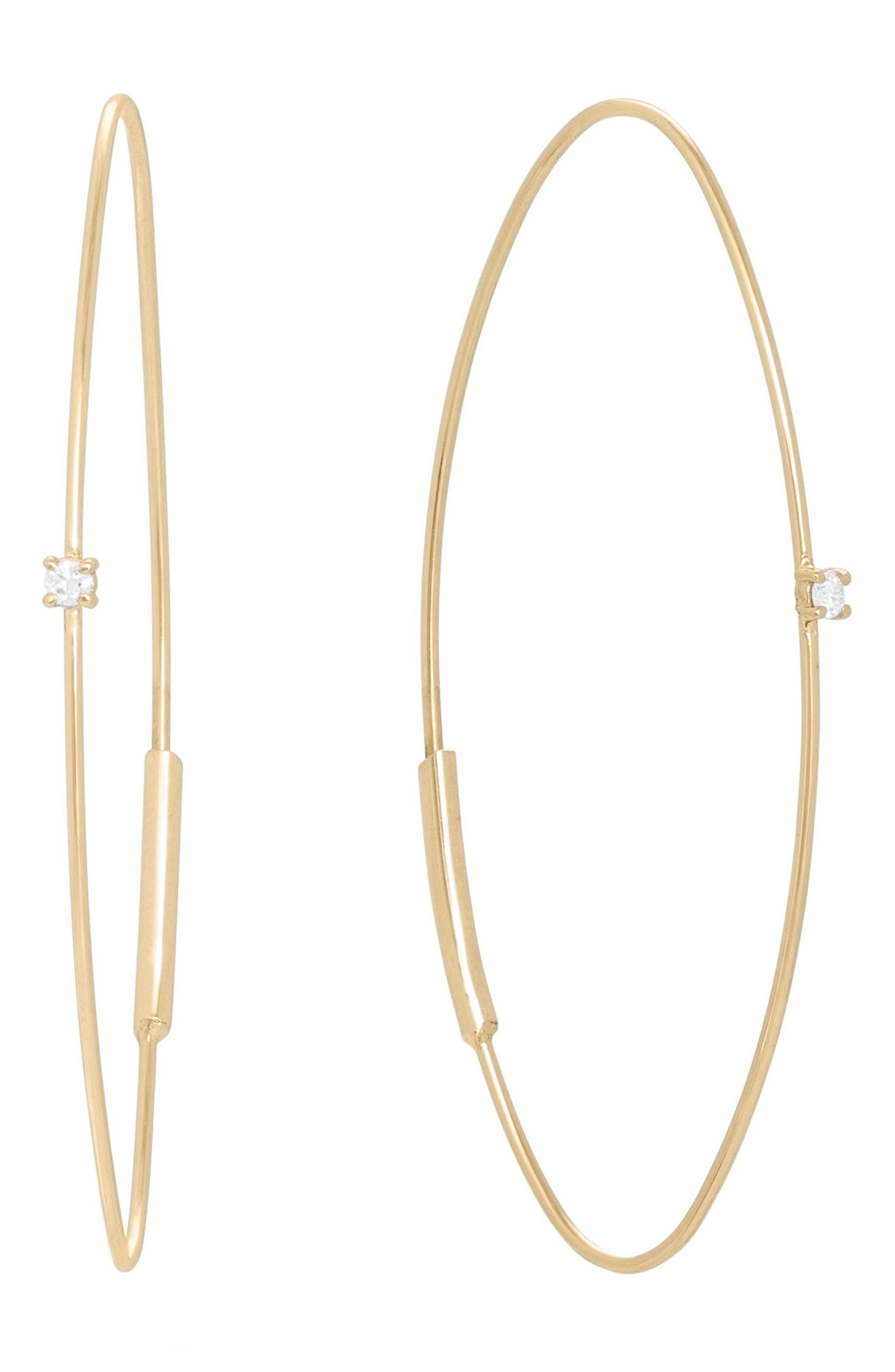 Small Wire Diamond Oval Hoop Threader Earrings