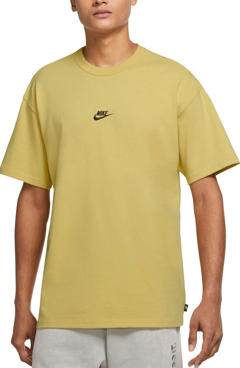 NIKE Sportswear Oversize Embroidered Logo T-Shirt, Main, color, SATURN GOLD/ BLACK