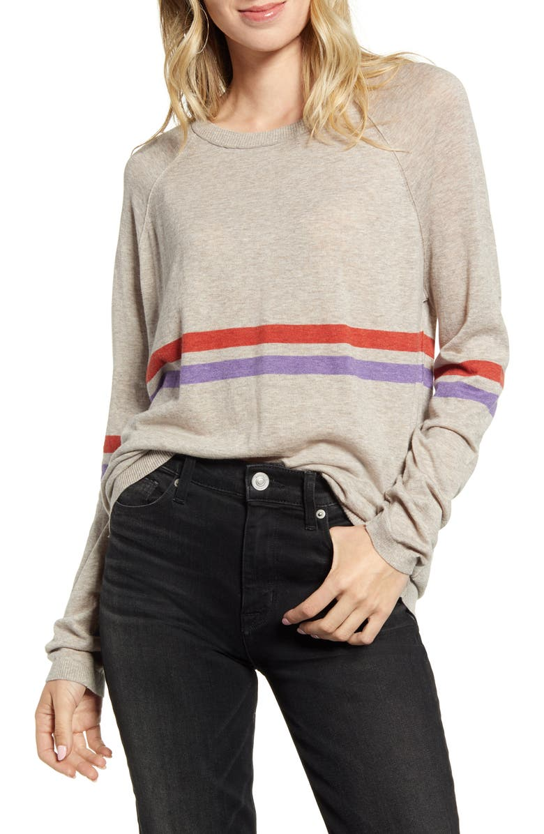 VELVET BY GRAHAM & SPENCER Race Stripe Lux Cotton Sweater, Main, color, FLAX