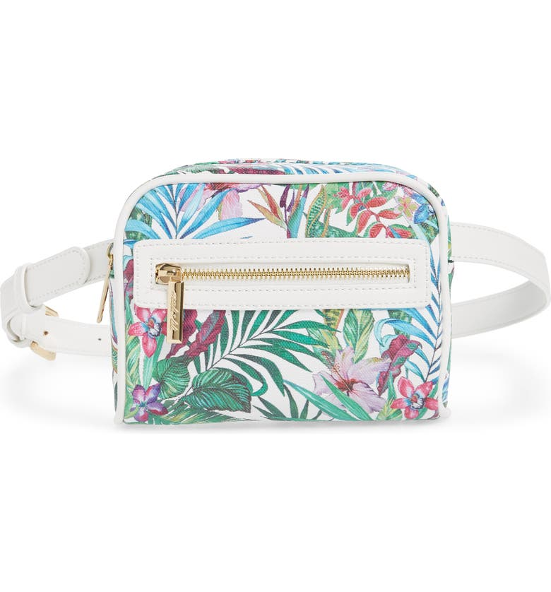 MALI + LILI Lacey Floral Convertible Vegan Leather Belt Bag, Main, color, WHITE/ WHITE FLORAL