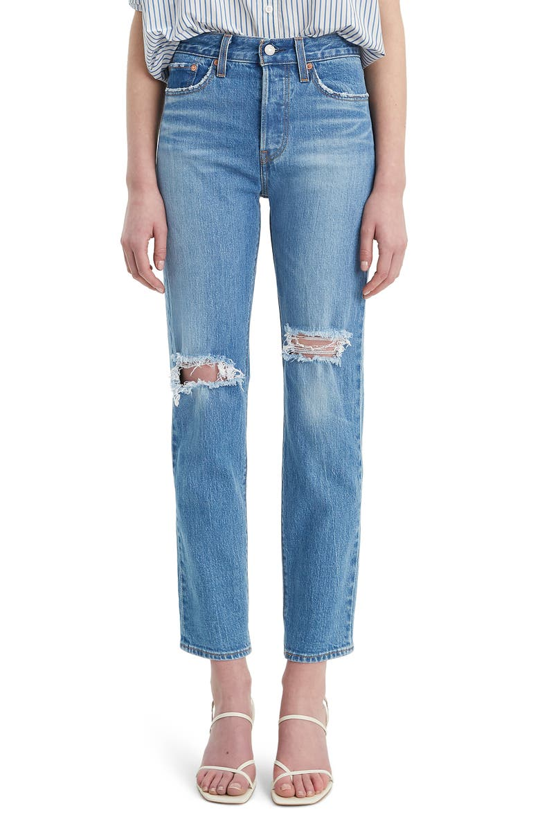 LEVI'S<SUP>®</SUP> Wedgie Icon Fit Ripped Straight Leg Jeans, Main, color, CHARLESTON BREEZE