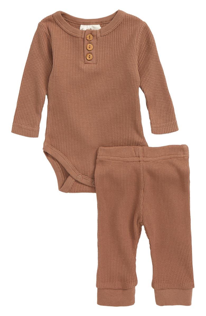 CITY MOUSE Waffle Knit Organic Cotton Bodysuit & Pants, Main, color, 230