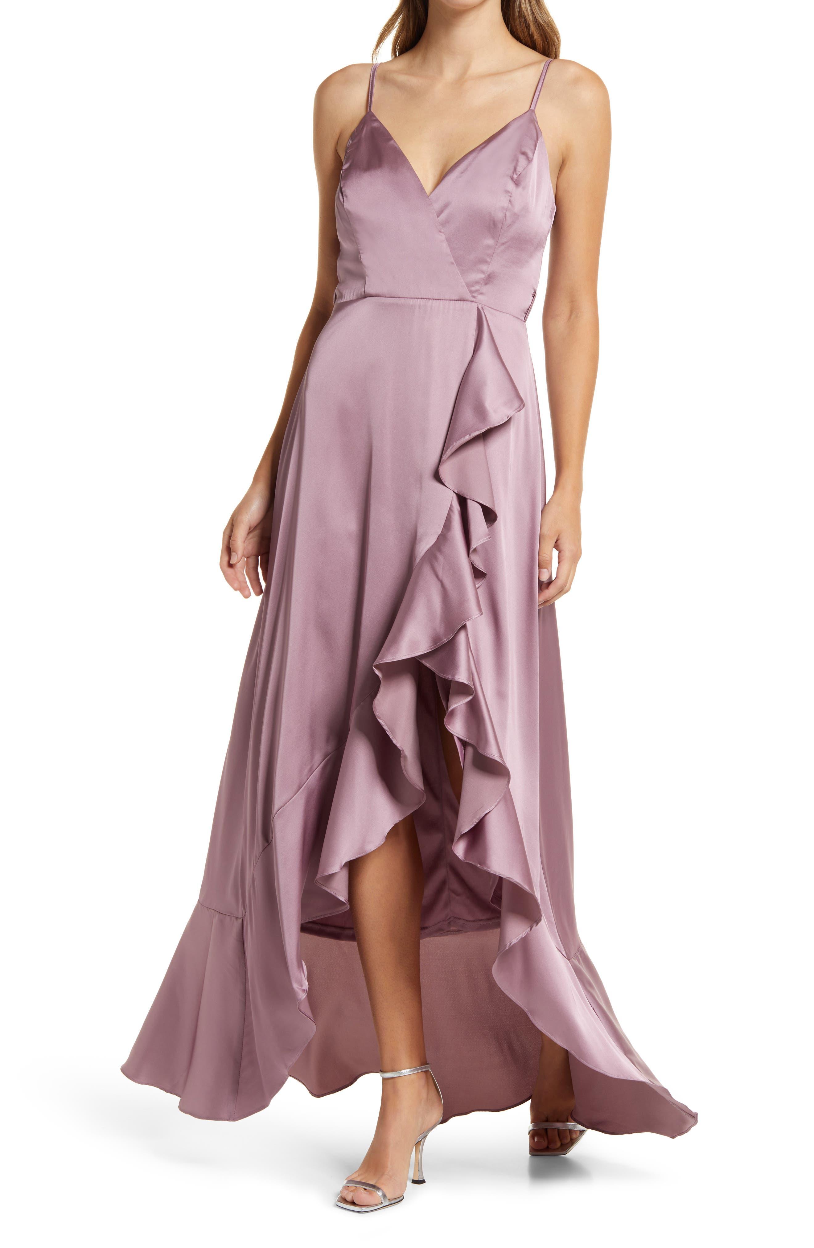 Ruffle Faux Wrap Gown