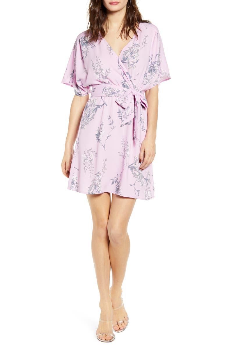 LEITH Dolman Sleeve Wrap Minidress, Main, color, 680