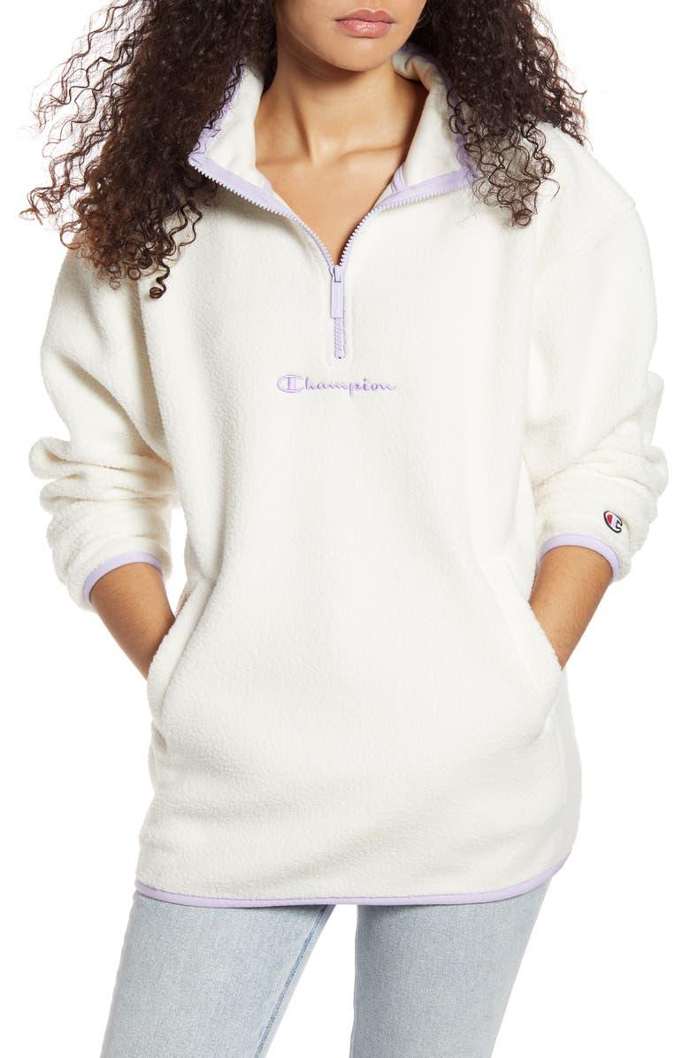 CHAMPION Quarter Zip Polar Fleece Pullover, Main, color, QUARTZ CREAM