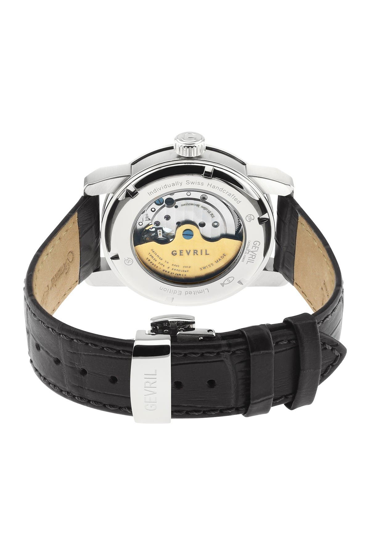 Image of Gevril Men's Madison Stainless Steel Silver Dial Black Leather Watch, 39mm