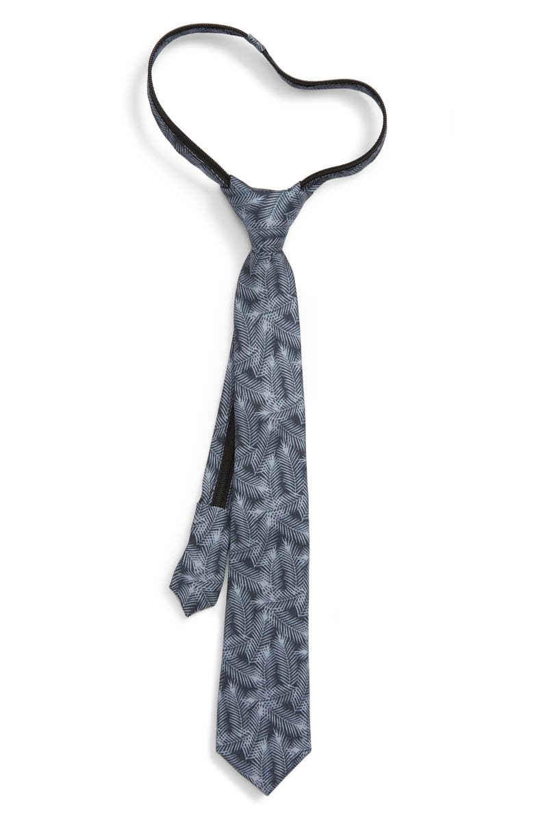NORDSTROM Palm Leaves Silk Zipper Tie, Main, color, 001