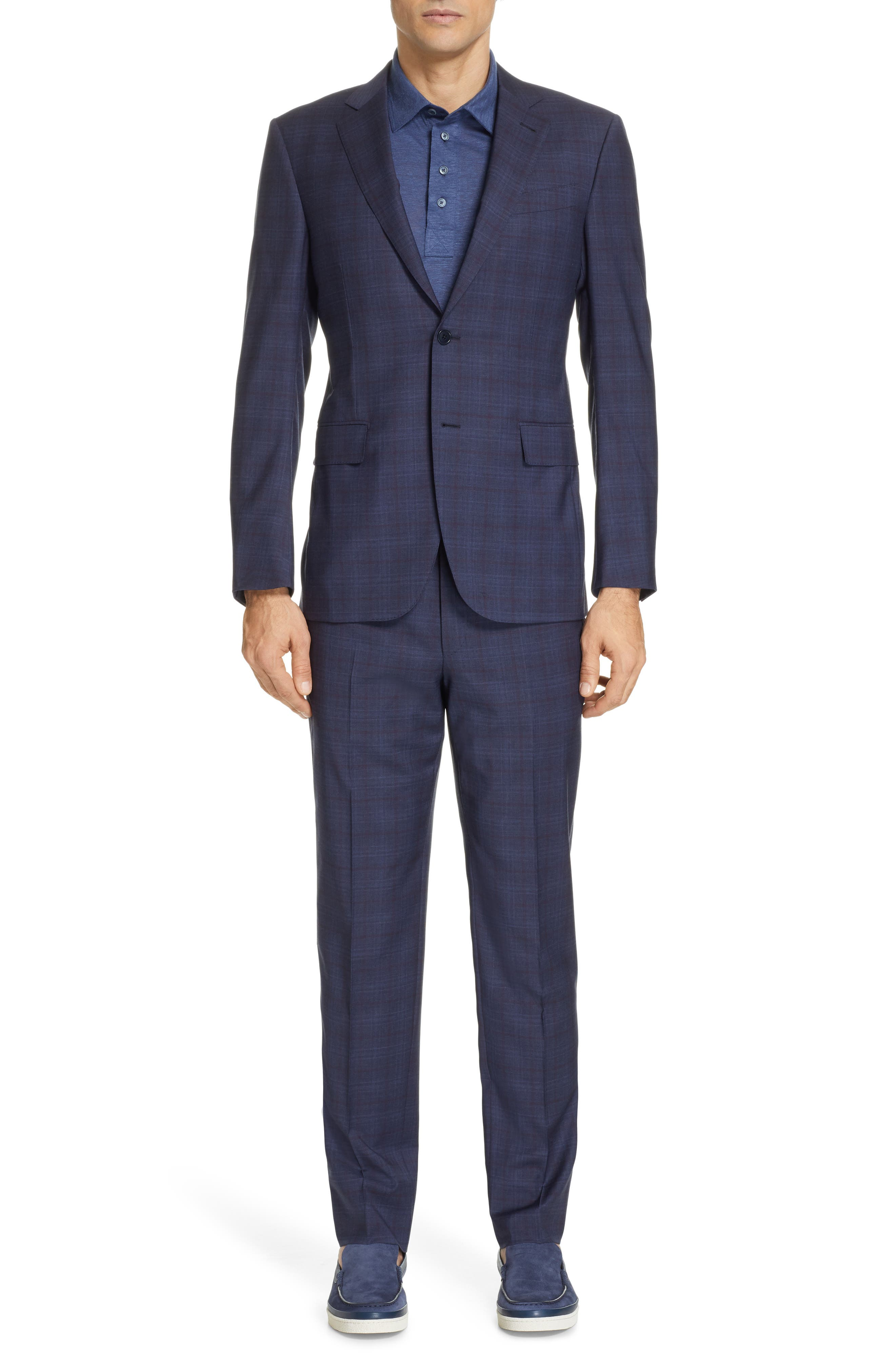 Milano Classic Fit Plaid Wool Suit, Main, color, NAVY