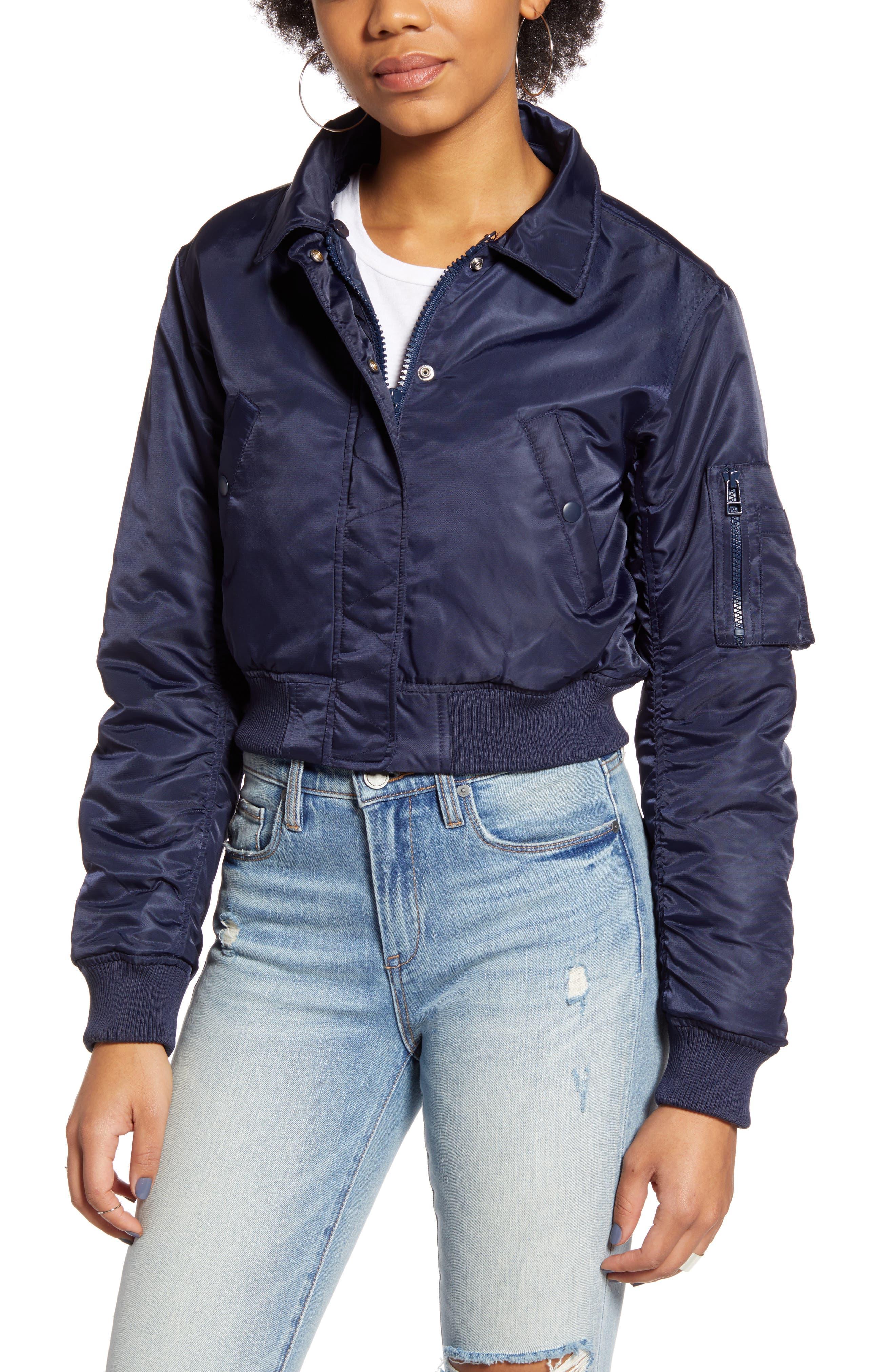 BDG Faux Fur Collar Cropped Bomber Jacket
