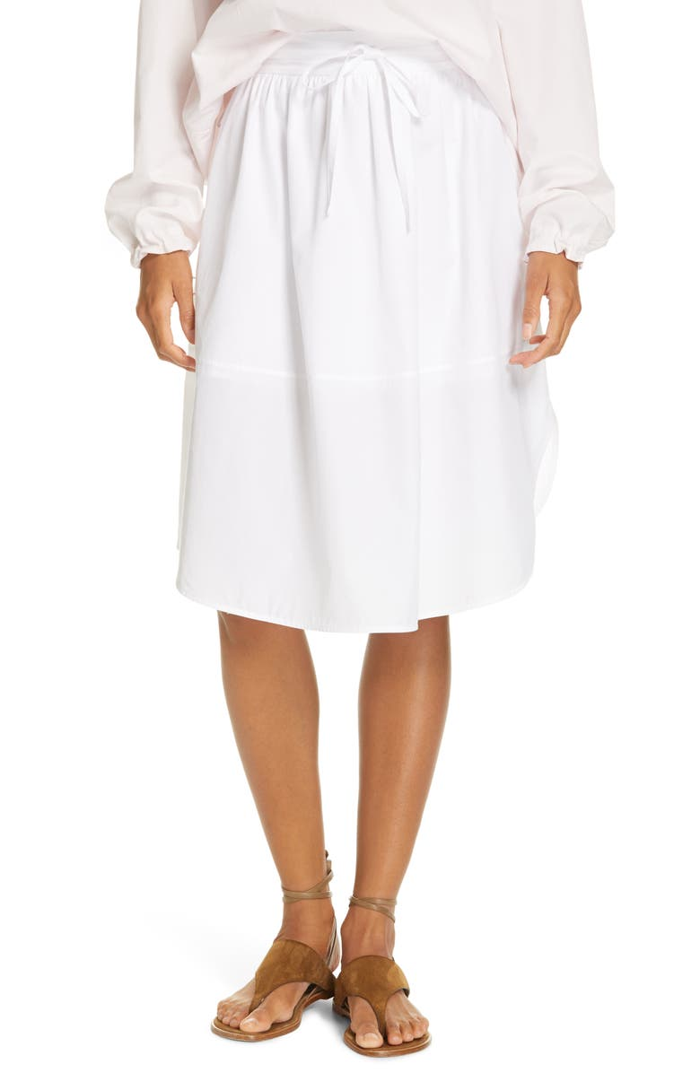 VINCE Tie-Front Full Cotton Skirt, Main, color, OPTIC WHITE