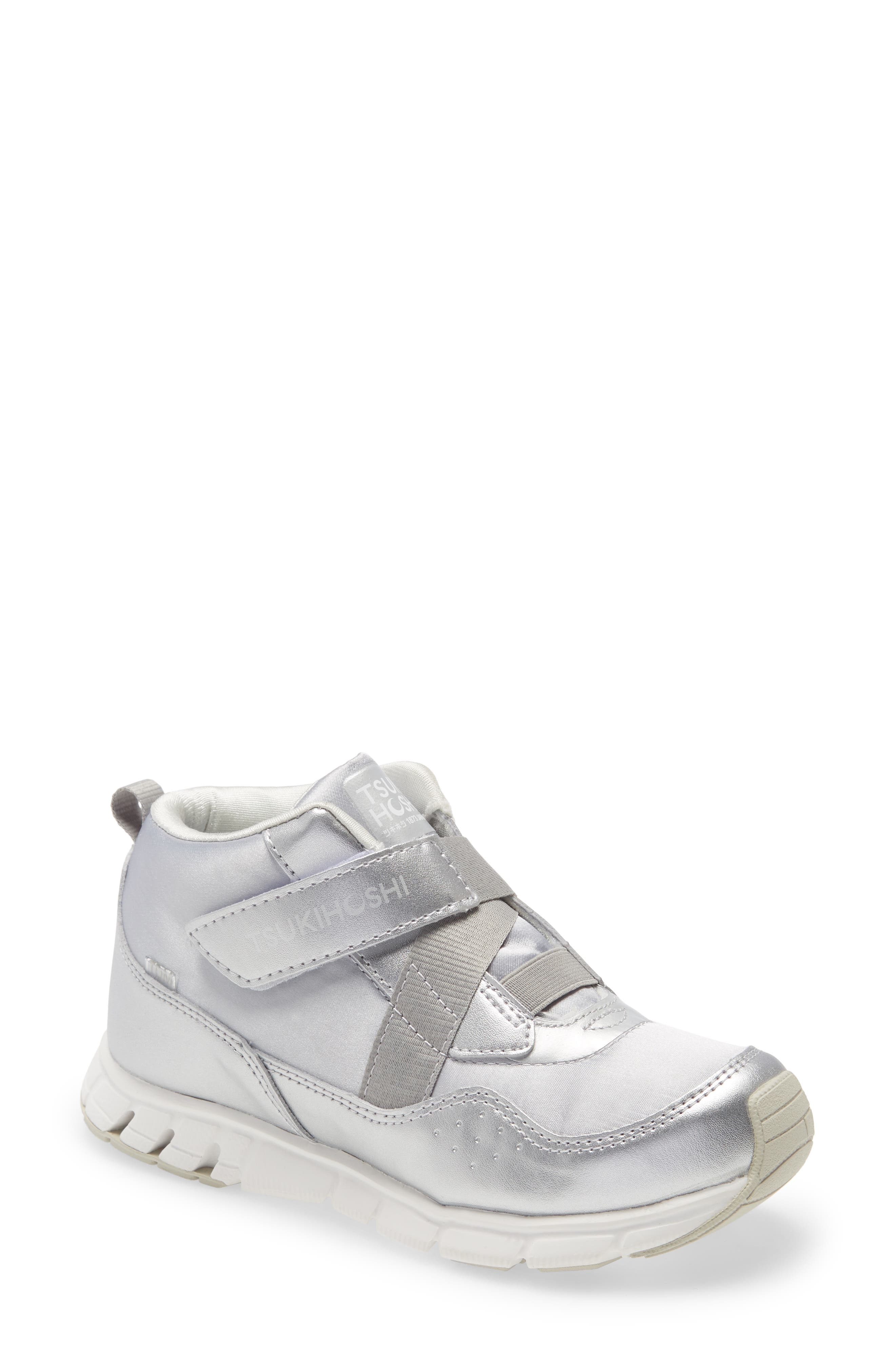A mid-top sneaker clad in shimmering metallic is both waterproof and washable, making it perfect for everyday adventures. Style Name: Tsukihoshi Toyko Metallic Waterproof Sneaker (Walker, Toddler, Little Kid & Big Kid). Style Number: 6145450. Available in stores.