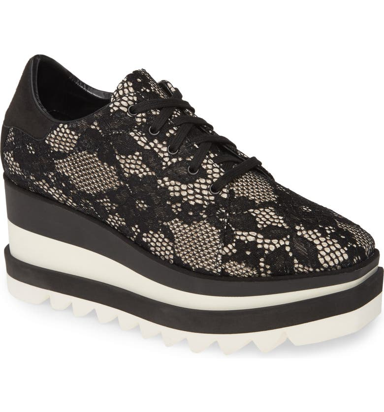 STELLA MCCARTNEY Sneak Elyse Lace Platform Sneaker, Main, color, IVORY/ BLACK LACE