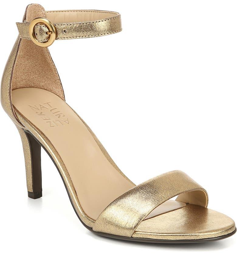 NATURALIZER Kinsley Ankle Strap Sandal, Main, color, DARK GOLD LEATHER