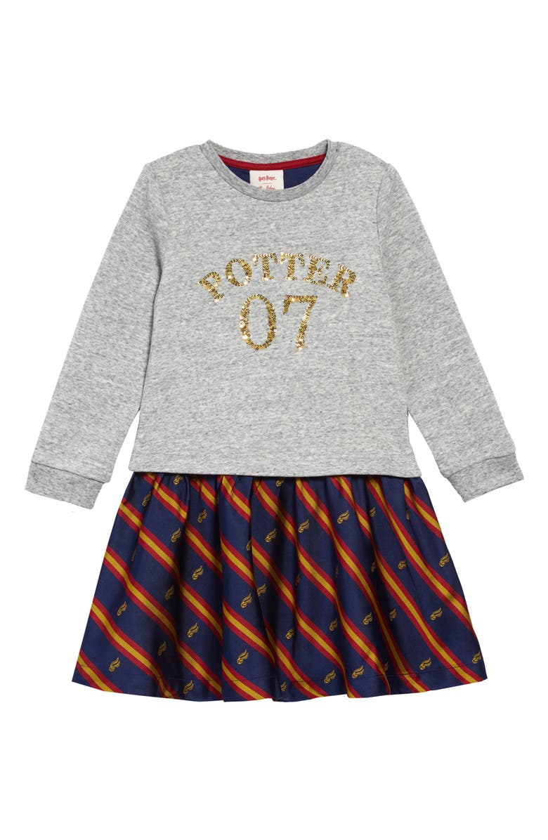MINI BODEN Harry Potter Sequin Seeker Dress, Main, color, GREY MARL/ JACQUARD STRIPE