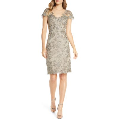 Tadashi Shoji Corded Lace Sheath Dress, Grey