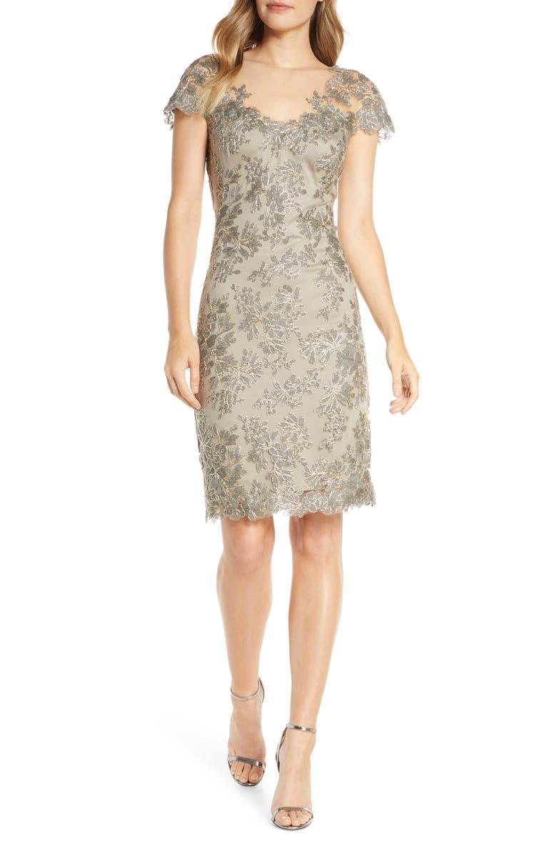 TADASHI SHOJI Corded Lace Sheath Dress, Main, color, SMOKE PEARL