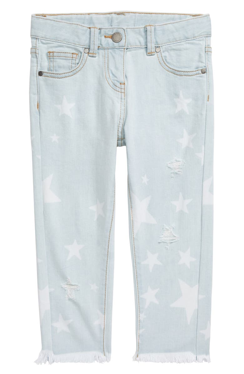 STELLA MCCARTNEY KIDS Star Pattern Distressed Jeans, Main, color, BLUE