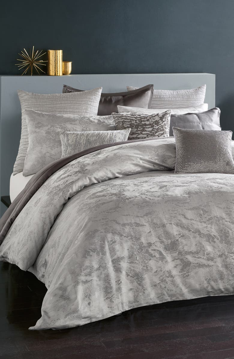 DONNA KARAN NEW YORK Luna Metallic Jacquard Duvet, Main, color, PLATINUM