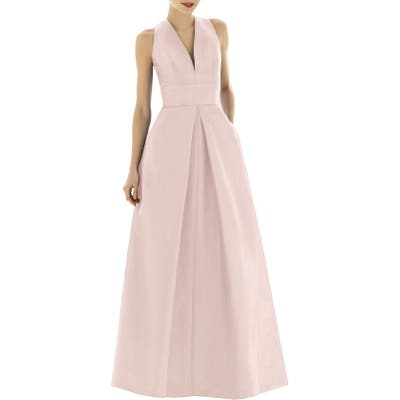 Alfred Sung V-Neck Dupioni Evening Gown, Pink