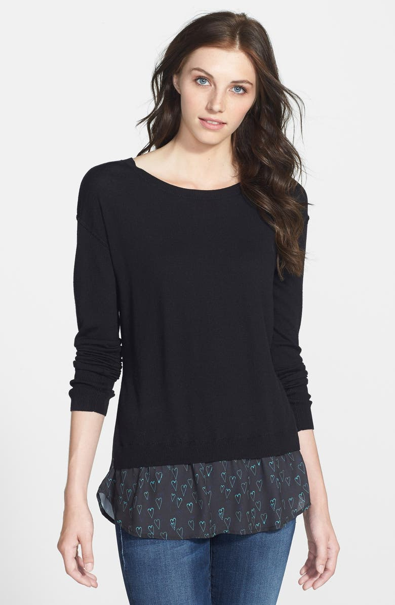 HALOGEN<SUP>®</SUP> Woven Hem Layered Look Sweater, Main, color, 001