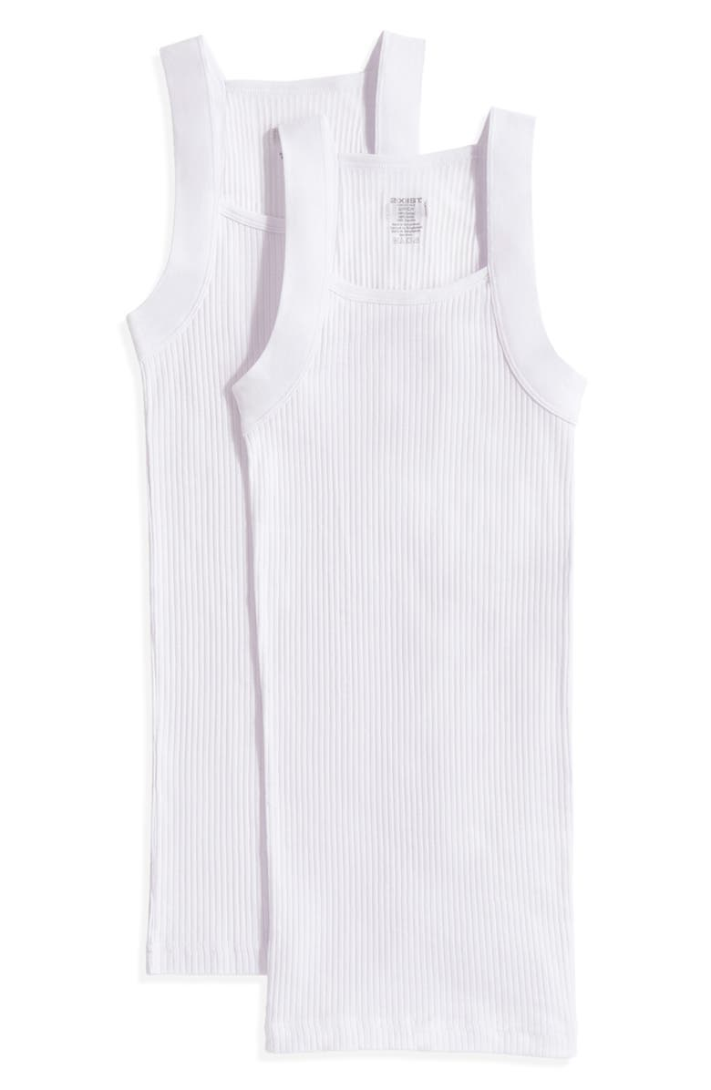 2(X)IST 2-Pack Square Cut Tank Top, Main, color, WHITE NEW LOGO