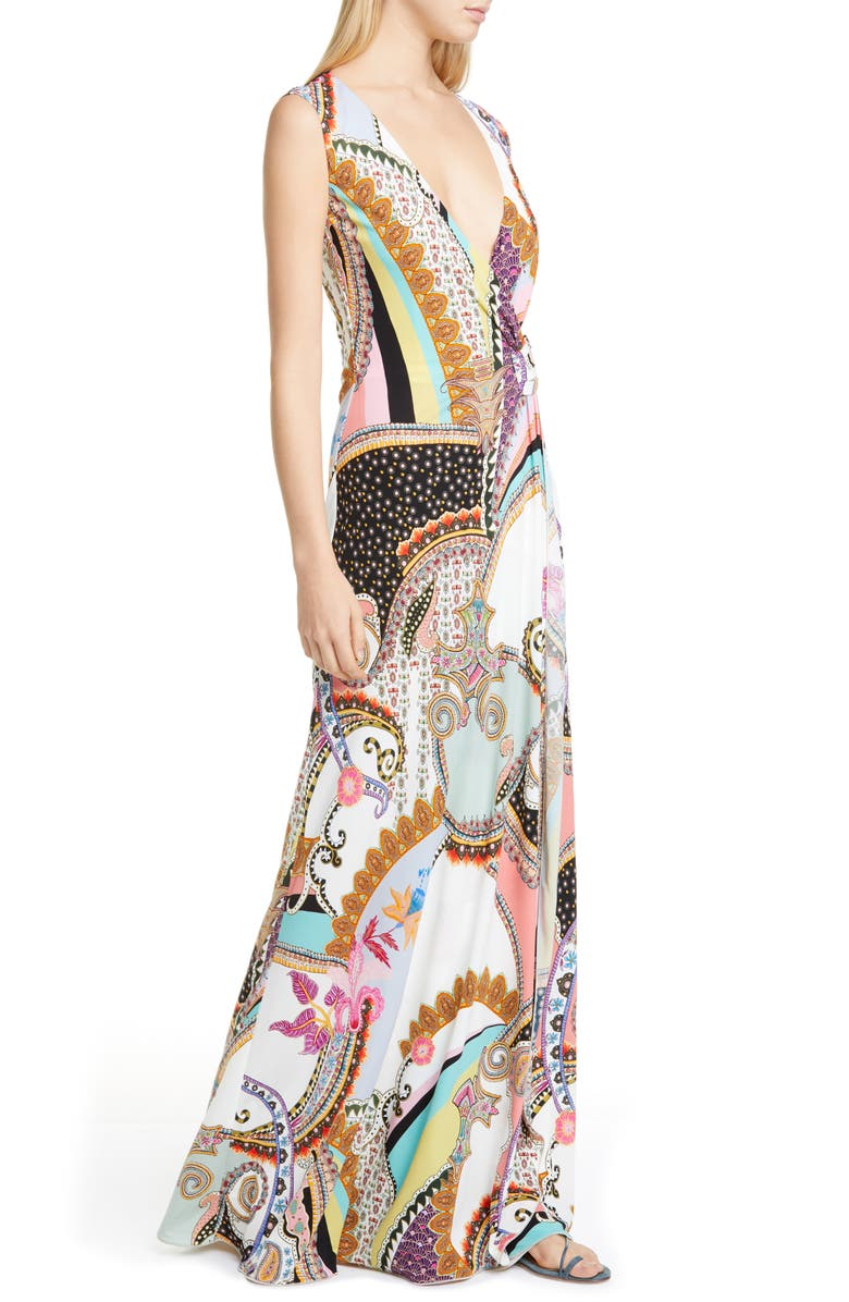 ETRO Mixed Print Jersey Maxi Dress, Main, color, WHITE