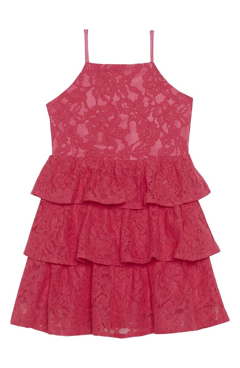 BARDOT Junior Cartia Tiered Lace Dress, Main, color, POP PINK