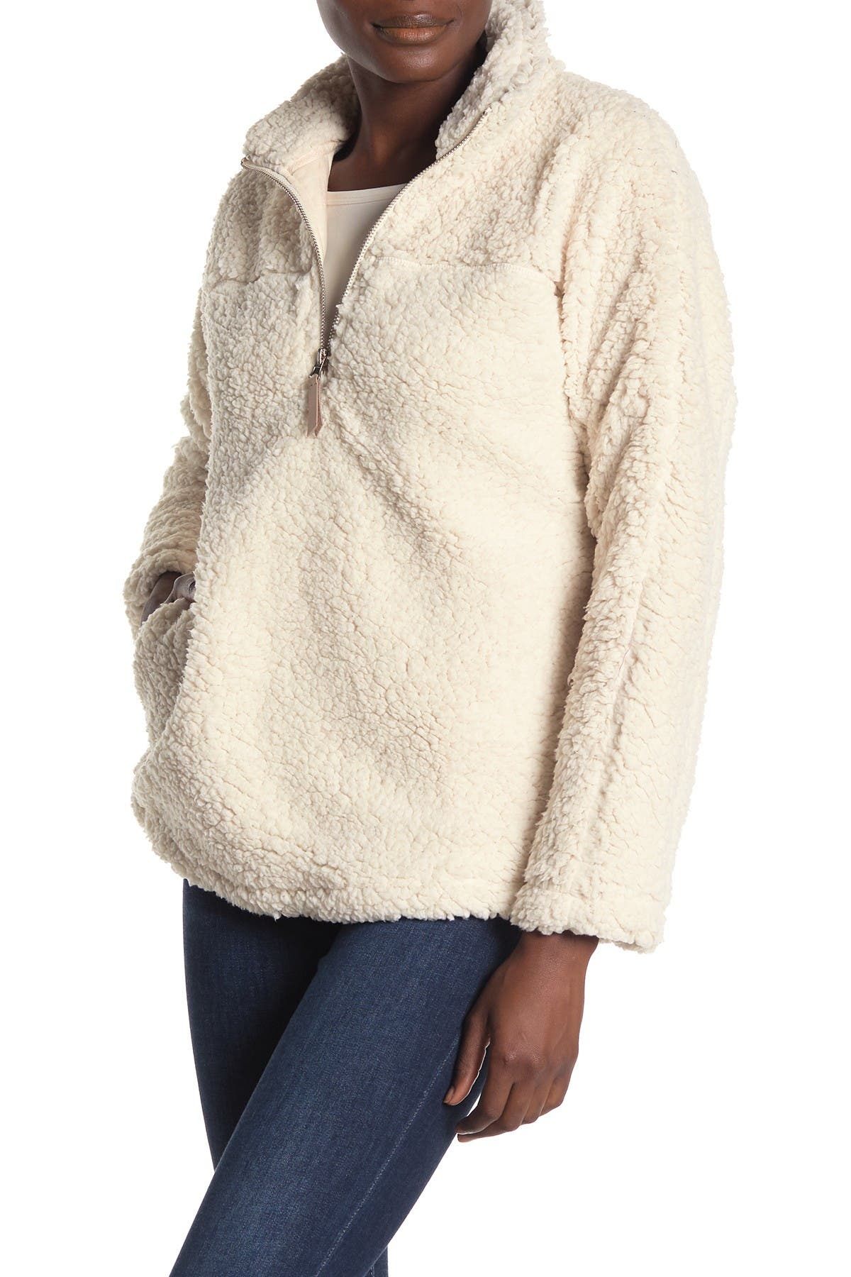 Image of Elodie Half Zip Faux Shearling Pullover