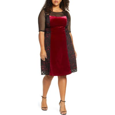 Plus Size Kiyonna Mixed Media Cocktail Dress, Red