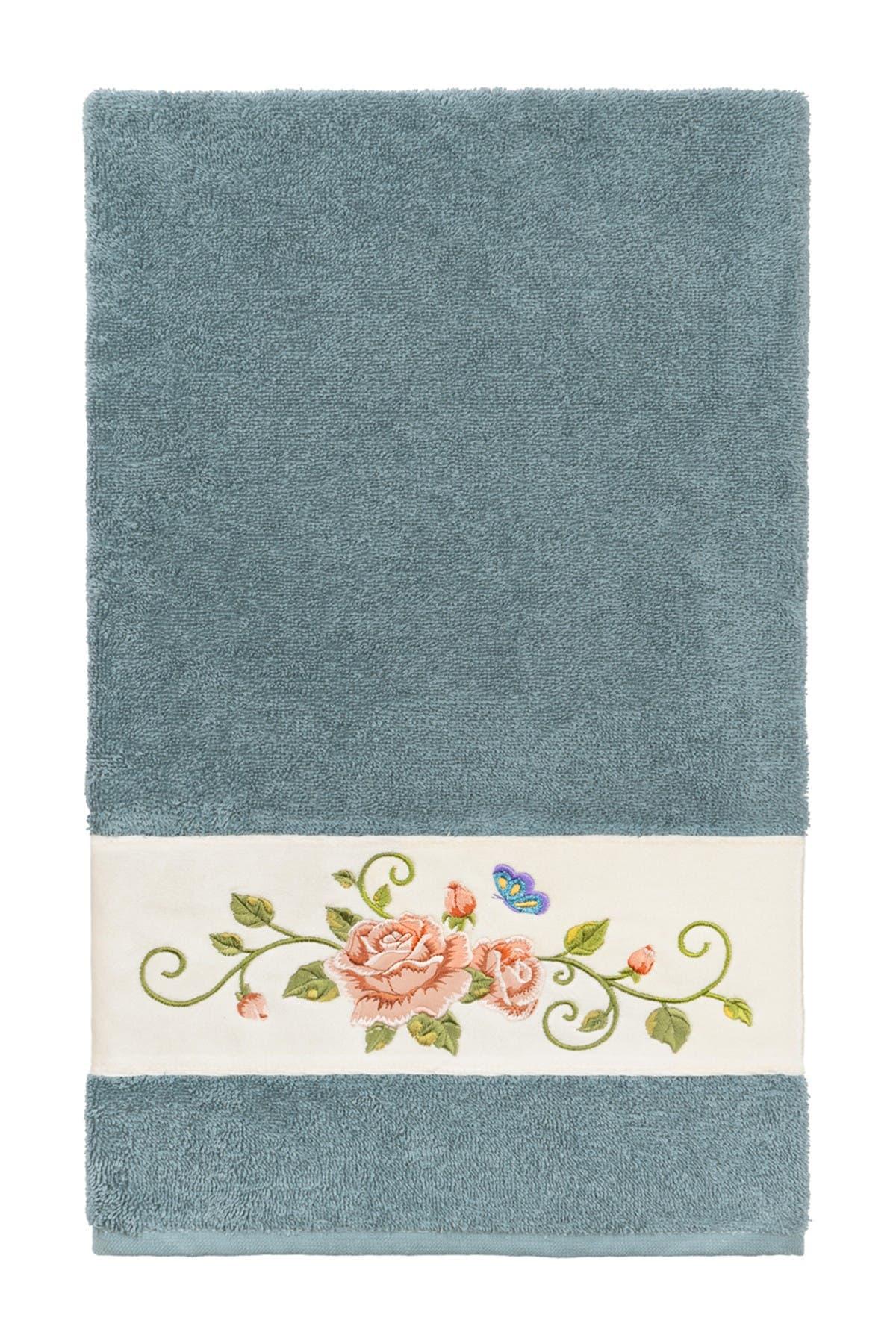 Image of LINUM HOME Teal Rebecca Embellished Bath Towel