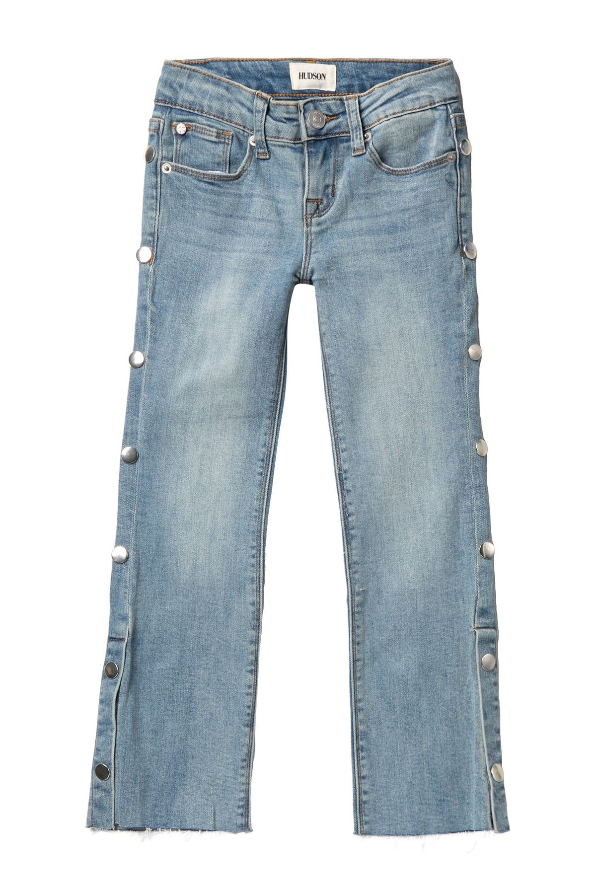Image of HUDSON Jeans Snappy Crop Fray Hem Straight Leg Jeans