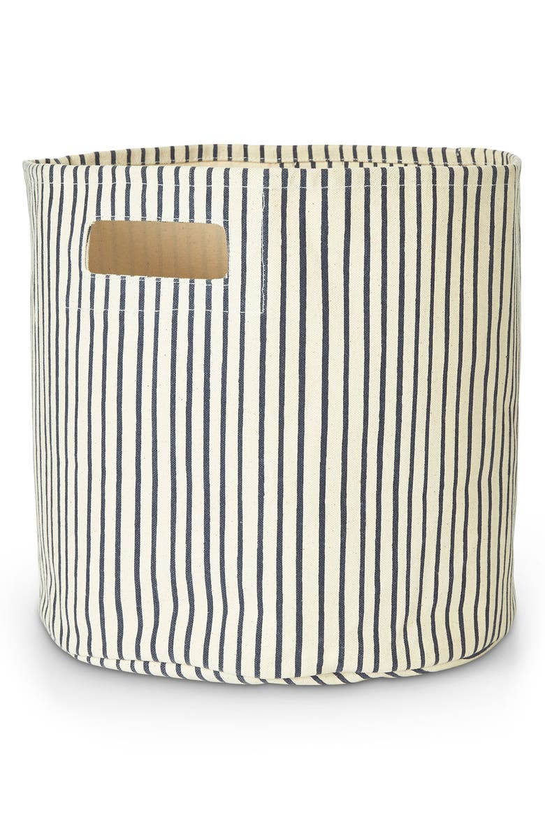 PEHR Stripes Away Canvas Bin, Main, color, INK